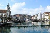 Jesuit Church and foot bridge on Reuss River, Lucerne, Switzerland