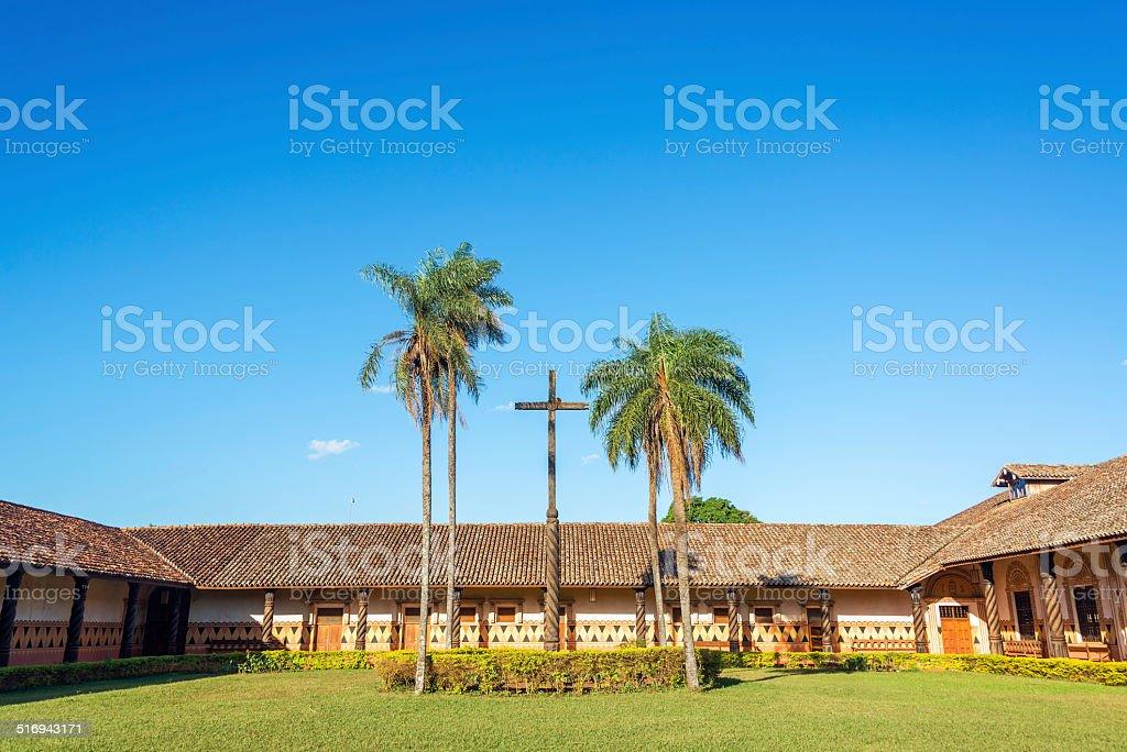 Jesuit Mission Courtyard stock photo