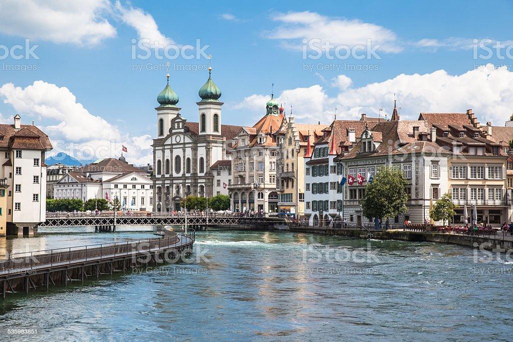 Jesuitenkirche (church) on the river side of Reuss stock photo