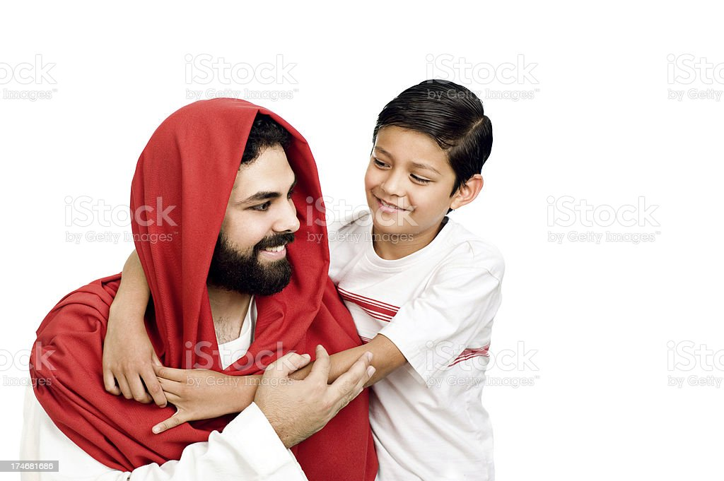 Jesus and child embraced royalty-free stock photo
