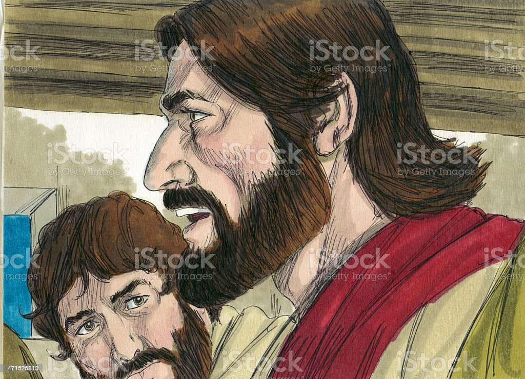 Jesus and Disciples Before the Last Supper royalty-free stock photo