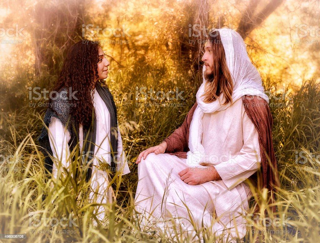 Jesus and Mary stock photo