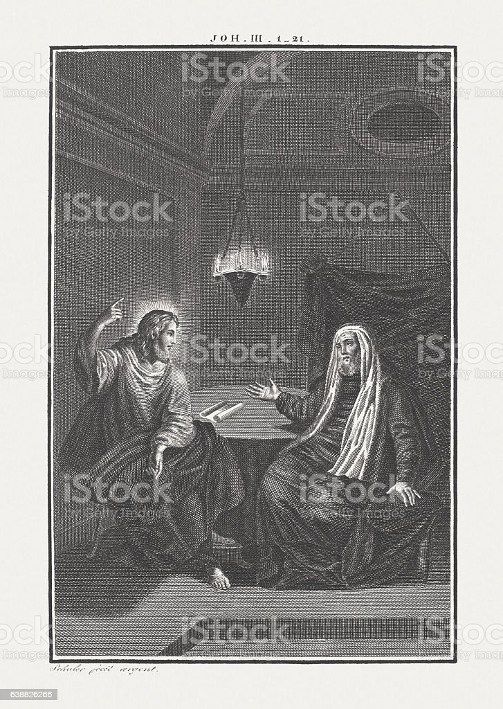 Jesus and Nicodemus (John 3), copper engraving, published c.1850 stock photo