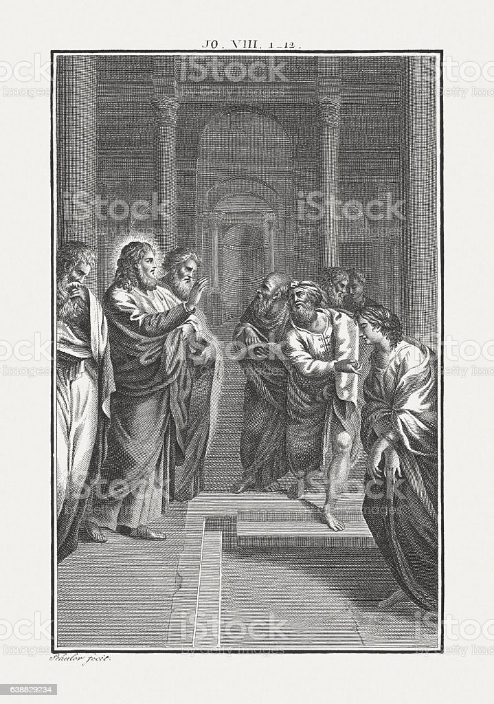 Jesus and the Adulteress (John 8), copper engraving, published c.1850 stock photo