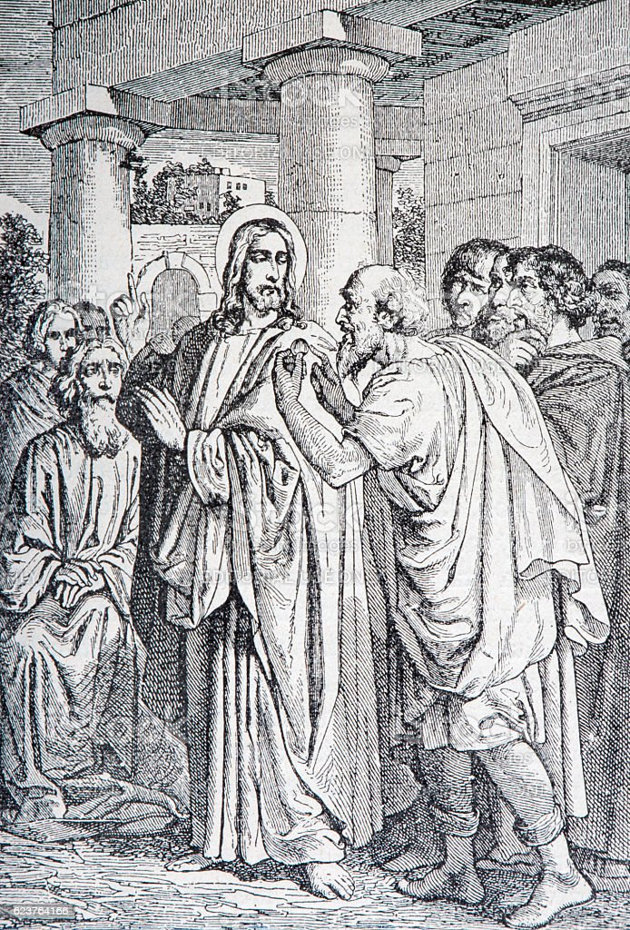 Jesus and the tax coin - lithography stock photo