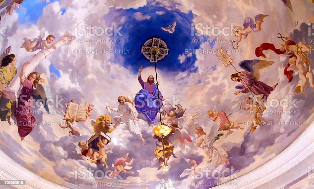 Jesus Angels Painting Ceiling Saint Nicholas Church Kiev Ukraine stock photo