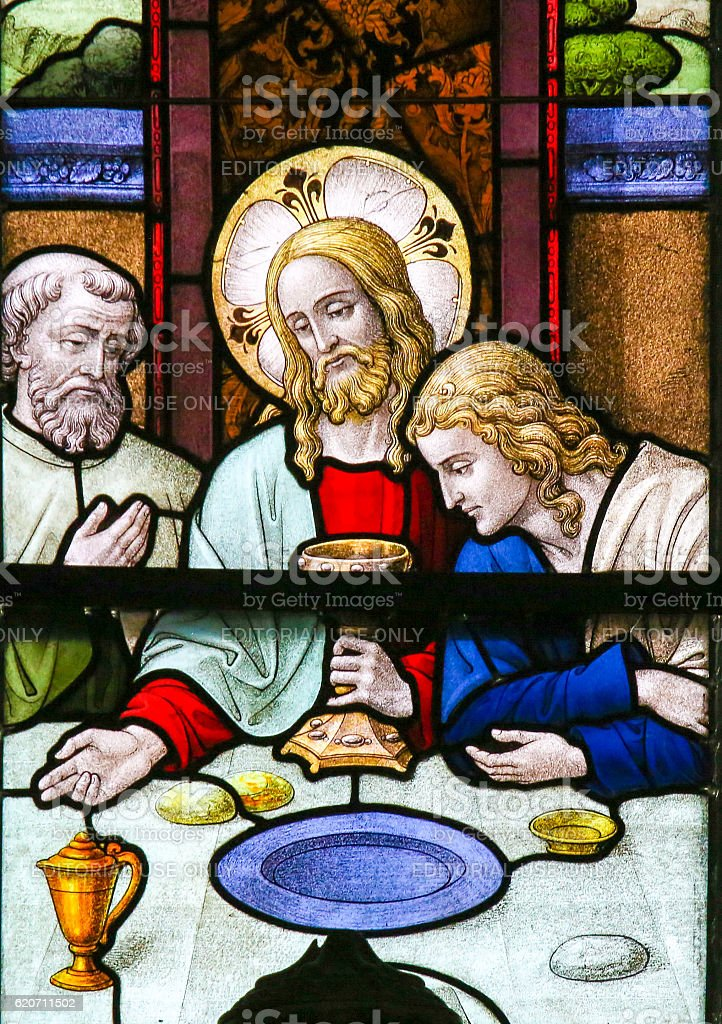 Jesus at Last Supper on Maundy Thursday - Stained Glass stock photo