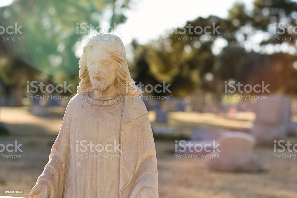 Jesus at the cemetery. royalty-free stock photo