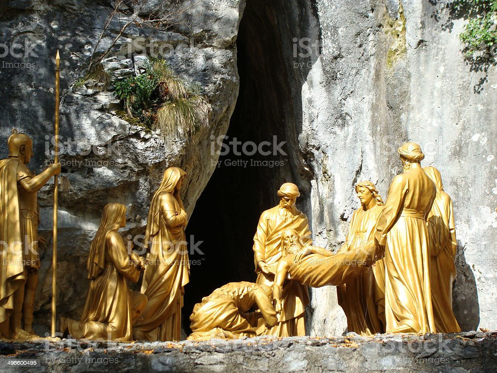 Jesus at tomb statue, Lourdes, France royalty-free stock photo