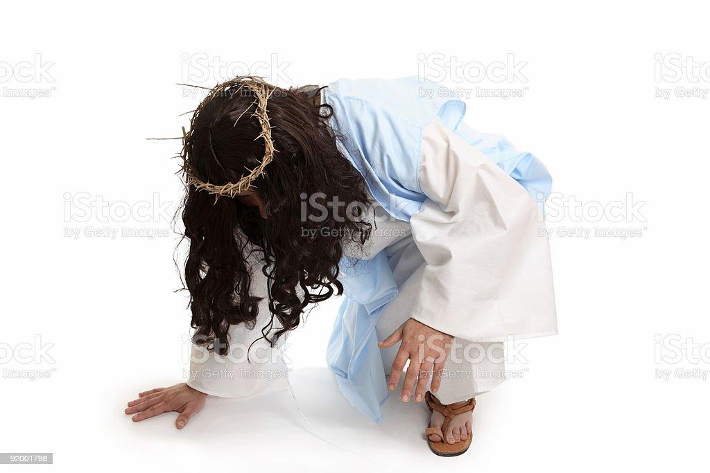 Jesus before the cross stock photo