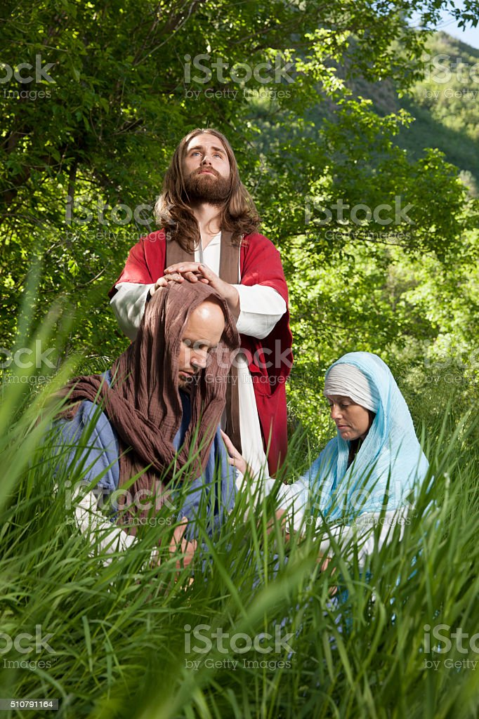 Jesus Blessing Disciple stock photo
