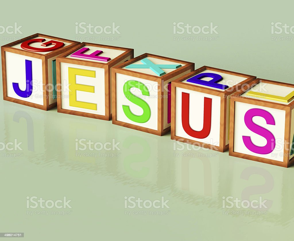 Jesus Blocks Show Son Of God And Messiah stock photo