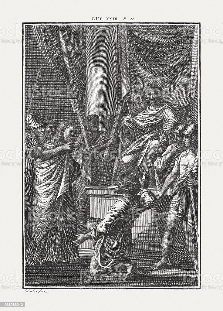 Jesus Brought Before Herod (Luke 23), copper engraving, published c.1850 stock photo