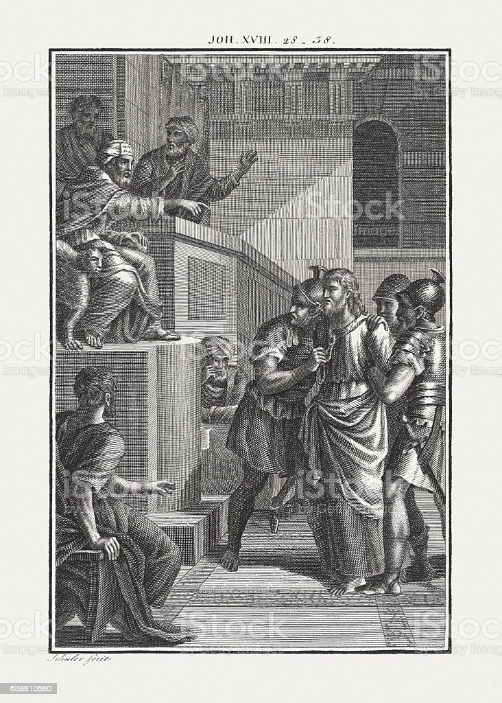 Jesus Brought Before Pilate (John 18), copper engraving, published c.1850 stock photo