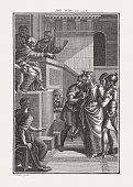 Jesus Brought Before Pilate (John 18), copper engraving, published c.1850