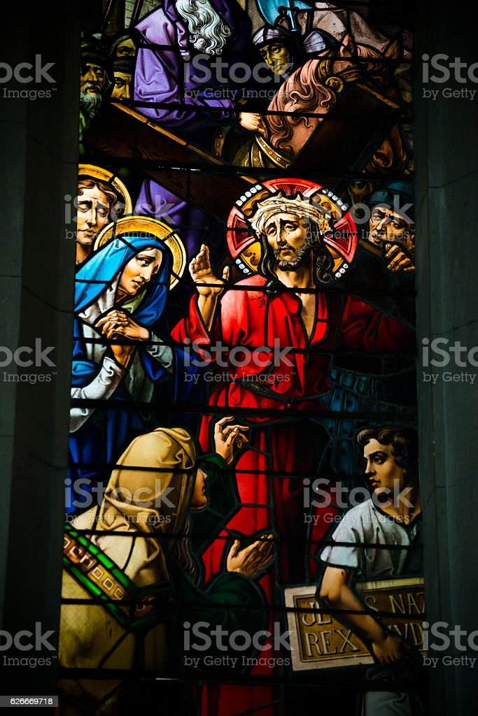Jesus carrying cross stained glass window in Havana, Cuba stock photo