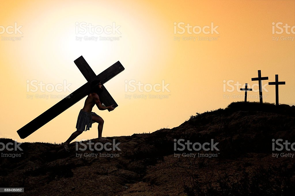 Jesus carrying the cross. stock photo