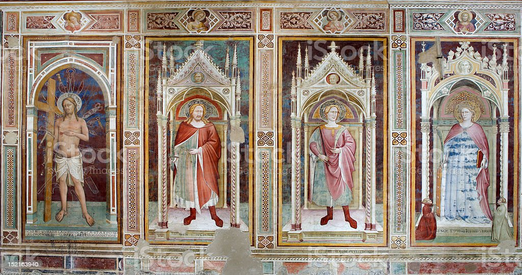 Jesus Christ and saints  from Florence church - fresco royalty-free stock photo