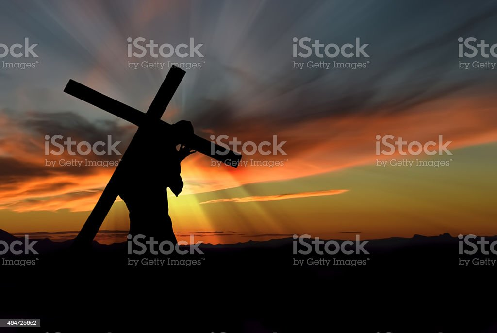 Jesus Christ Carrying Cross stock photo