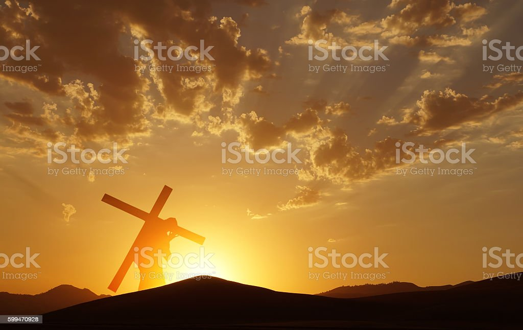 Jesus Christ Carrying Cross up Calvary on Good Friday stock photo