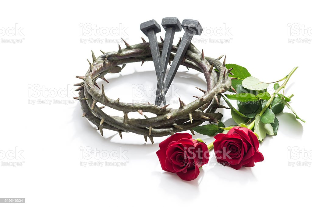 Jesus Christ crown of thorns, nails and two roses. stock photo