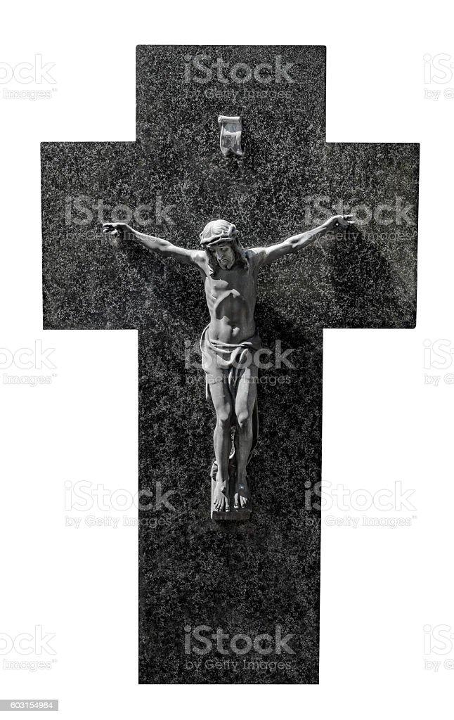Jesus Christ Crucifix Gray Black Marble Cross, Sunlight, Isolated White stock photo