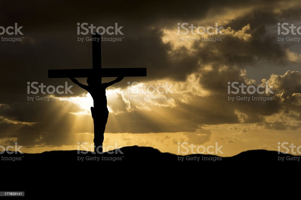 Jesus Christ Crucifixion on Good Friday Silhouette stock photo