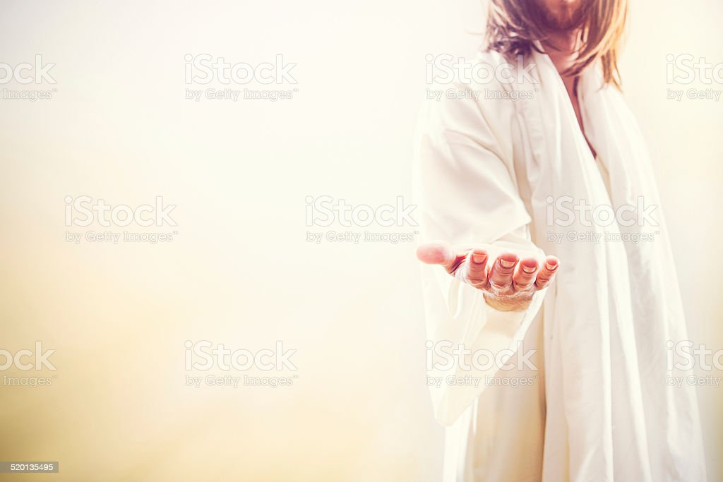 Jesus Christ Extending Welcoming Hand stock photo