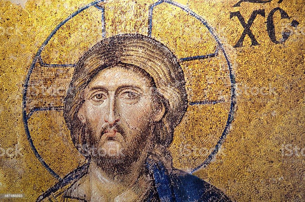 Jesus Christ Gold Mosaic stock photo