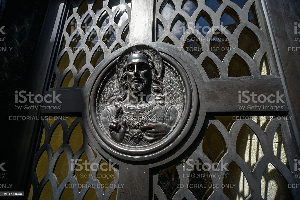 Jesus Christ image on a tomb stock photo