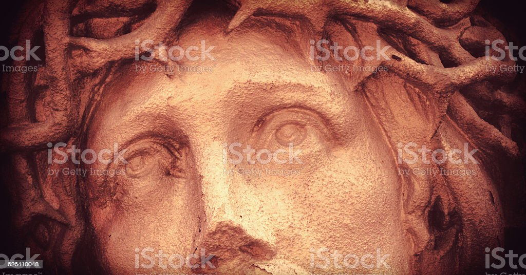 Jesus Christ in a crown of thorns stock photo