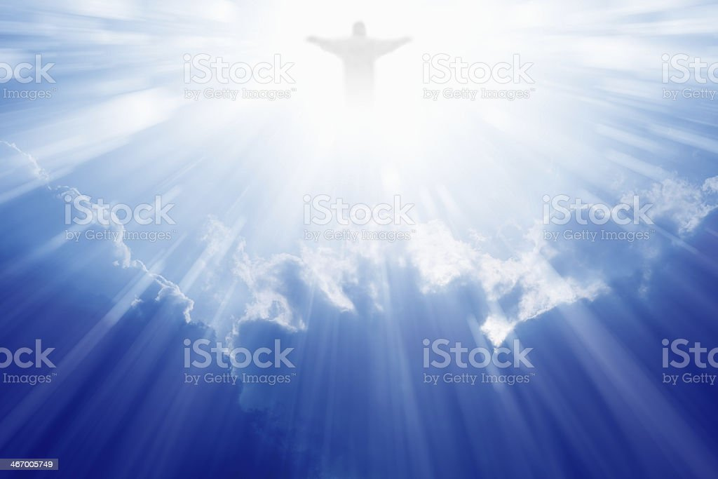 Jesus Christ in heaven stock photo