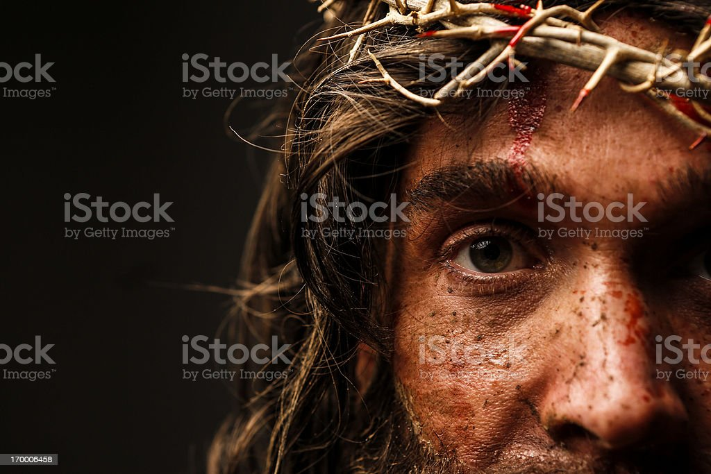 Jesus Christ looking at camera stock photo
