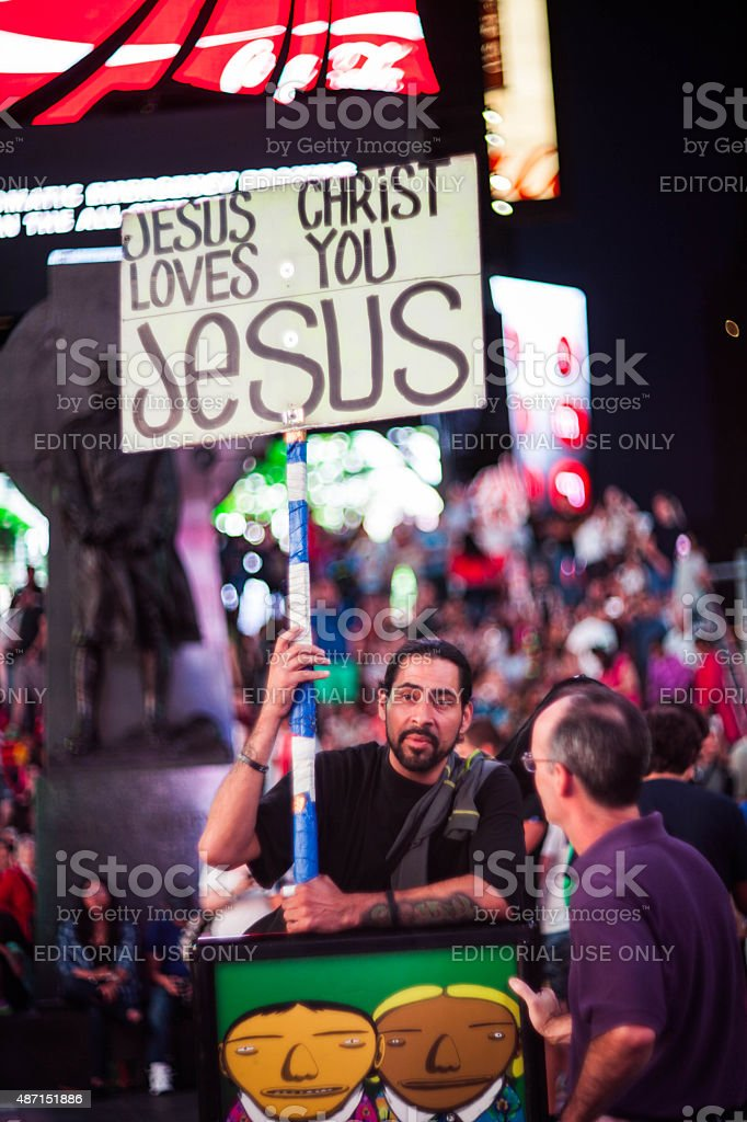 Jesus Christ Loves You Jesus Times Square NYC stock photo