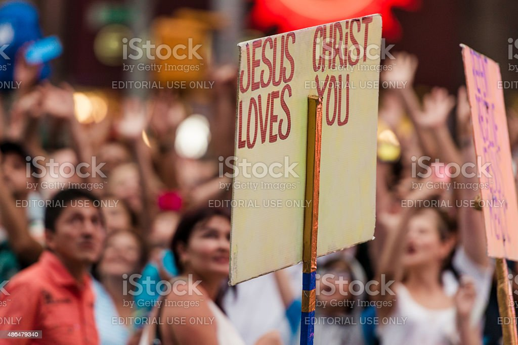 Jesus Christ Loves You stock photo