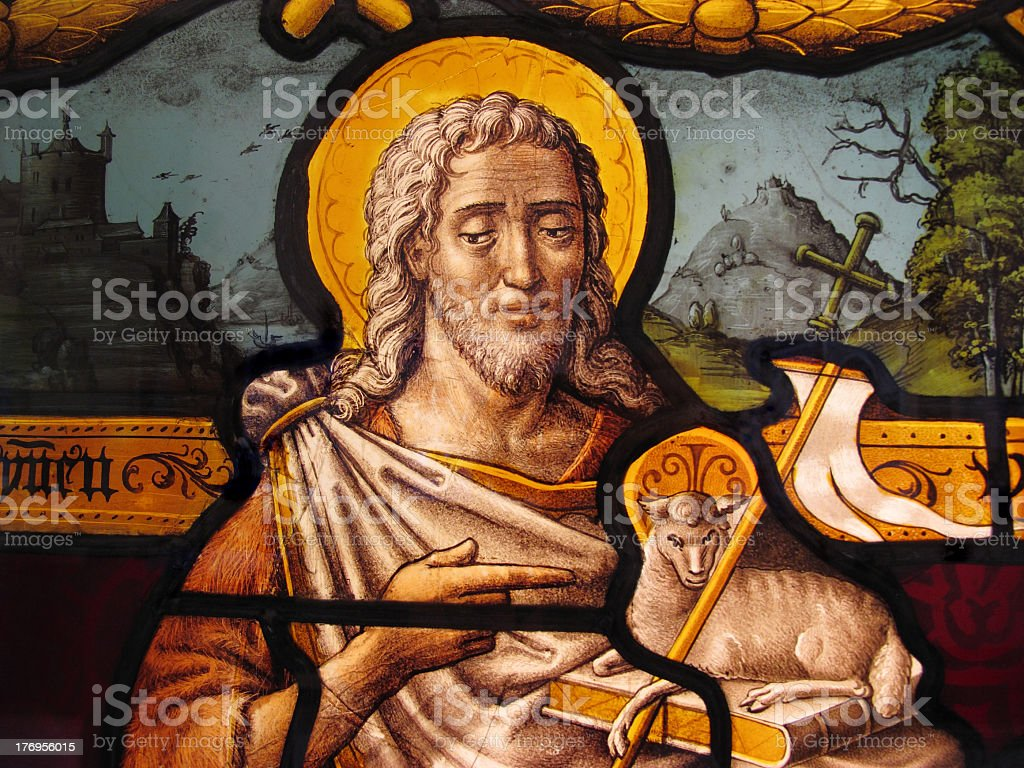 Jesus Christ Medieval Stained Glass Window stock photo