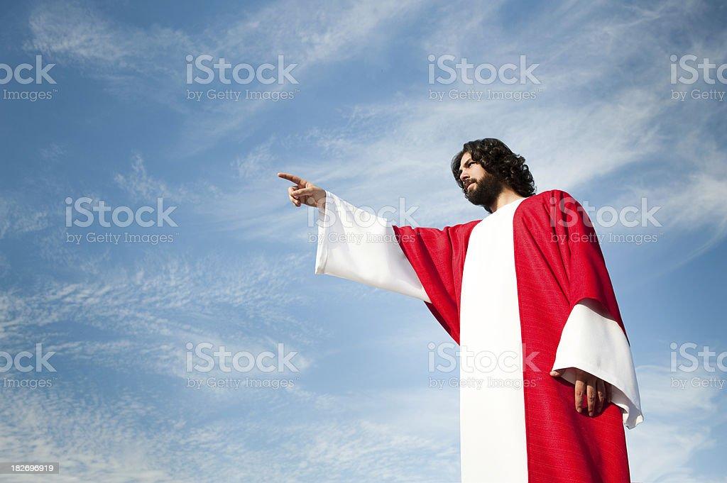 Jesus Christ pointing away royalty-free stock photo
