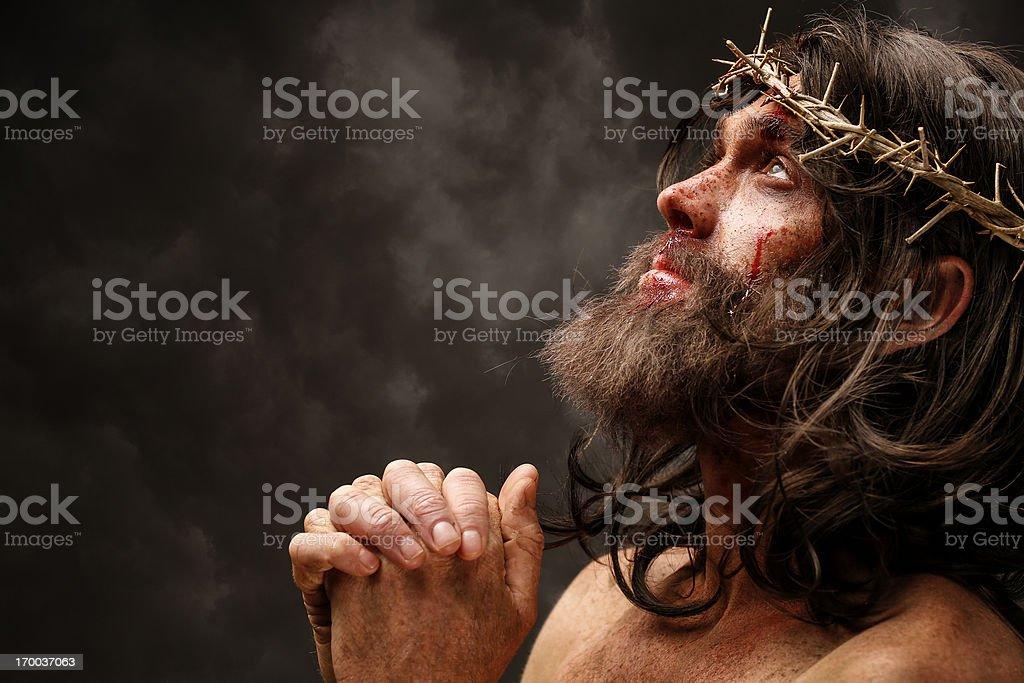 Jesus Christ praying stock photo