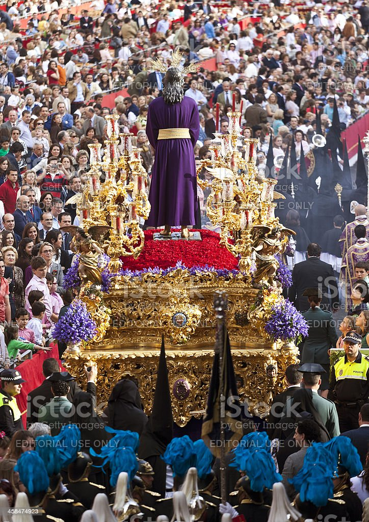 Jesus Christ religious parade during Holy Monday in Sevilla stock photo