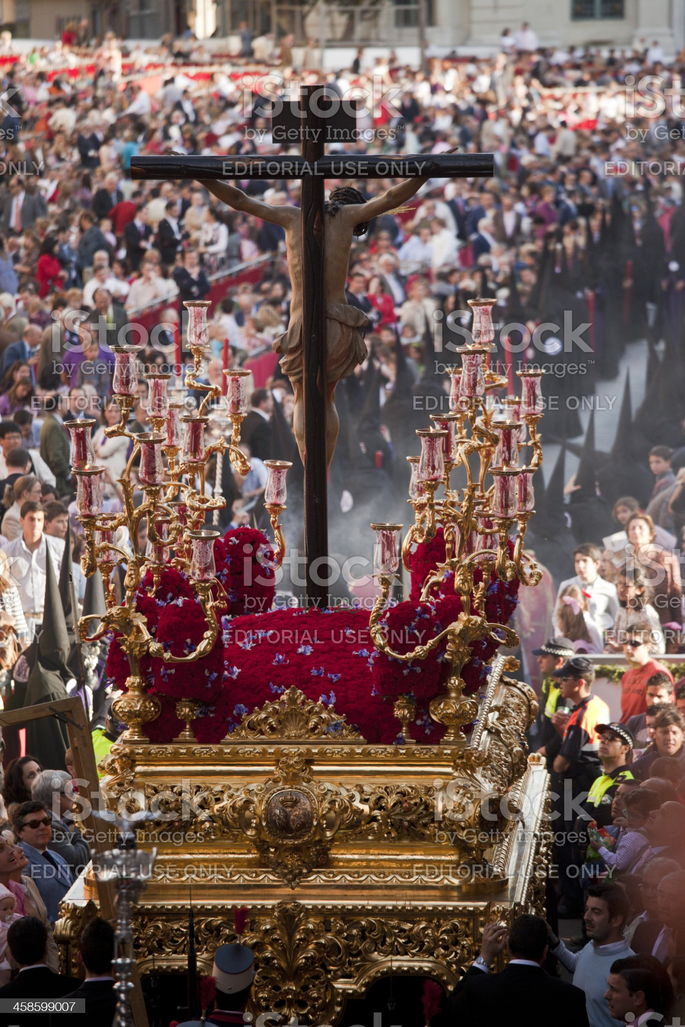 Jesus Christ religious parade during Holy Wednesday in Sevilla royalty-free stock photo