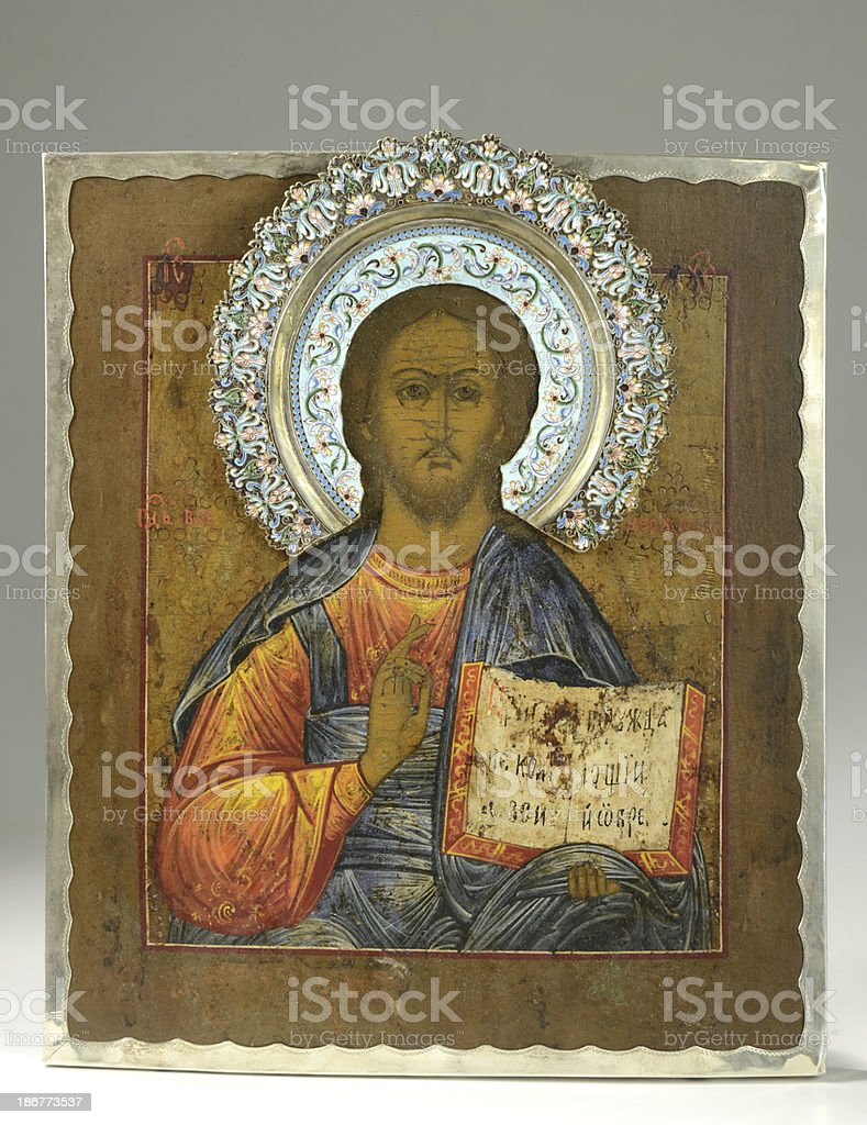 Jesus Christ Russian Icon/Plaque, 19th Century stock photo