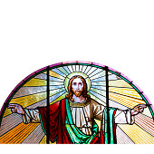Jesus Christ, stained glass church window, white background, copy space