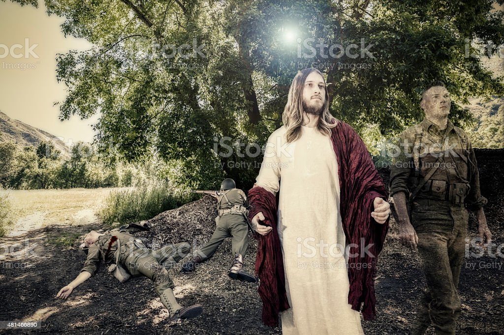 Jesus Christ Takes the Soul of Dead Soldier to Heaven stock photo