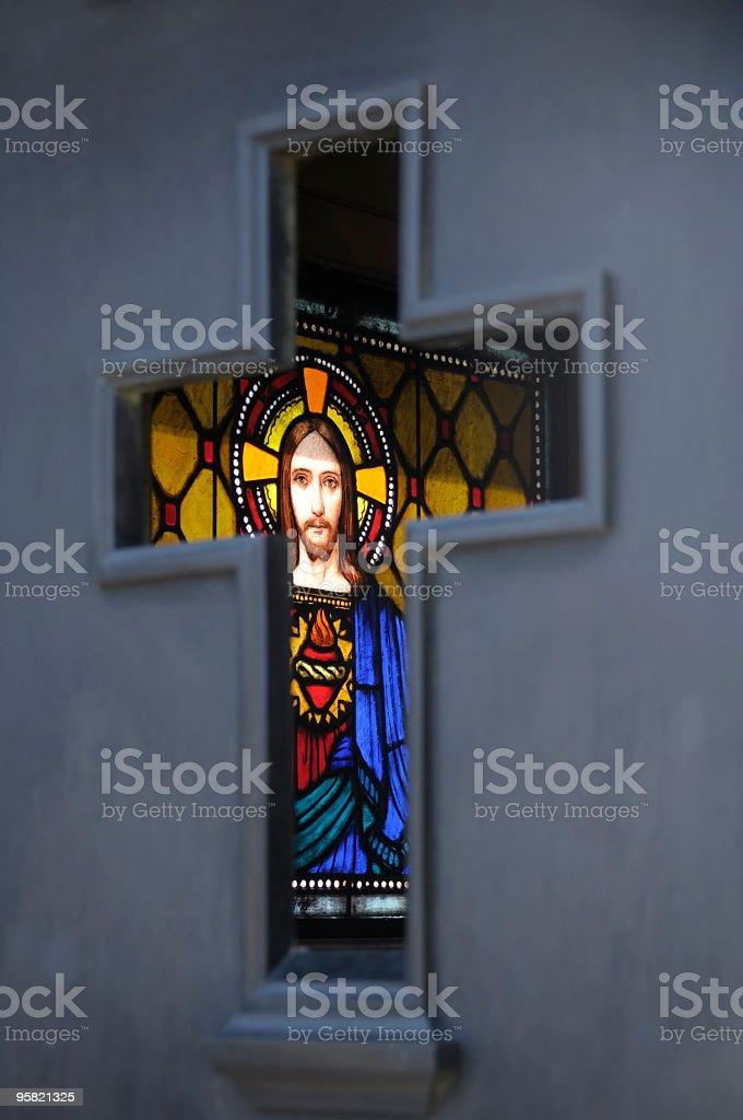 Jesus Christ Through Cross, Recoleta Cemetery, Buenos Aires, Argentina royalty-free stock photo