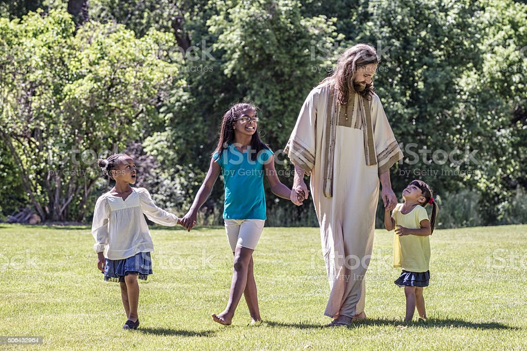 Jesus Christ Walking With Children - Three Young Girls stock photo