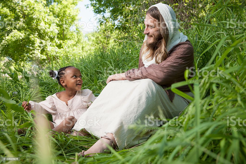 Jesus Christ with Young Child stock photo