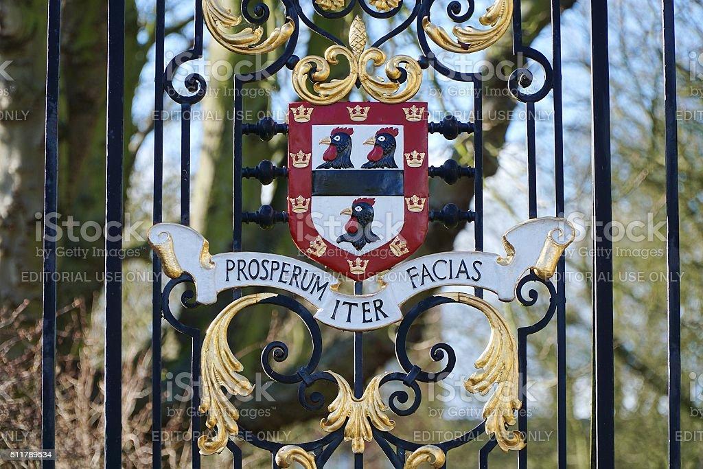 Jesus College, Cambridge, Cockerel Coat Of Arms stock photo