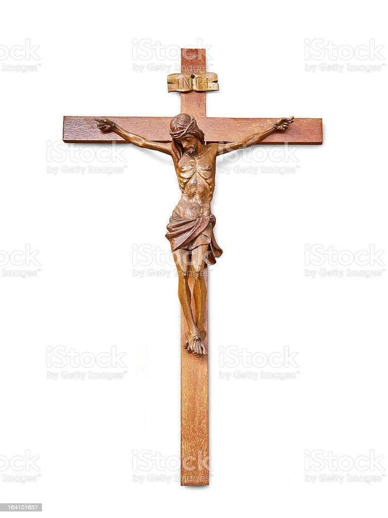 Jesus cross isolated on white royalty-free stock photo