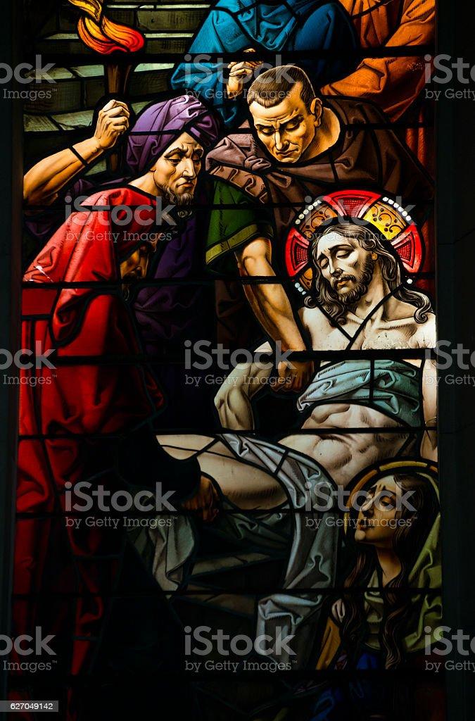 Jesus crucifixion scene in stained glass window in Havana, Cuba stock photo
