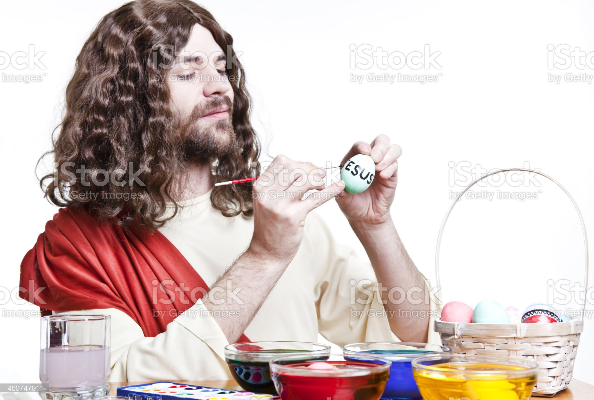 Jesus Decorating Easter Eggs royalty-free stock photo
